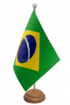 Brazil Desk / Table Flag with wooden stand and base